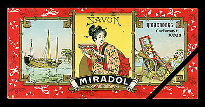 Vintage French Perfume Soap Label: Original Antique Lithograph Miradol Paris
