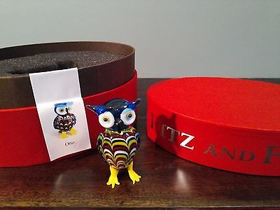 Fitz & Floyd Glass Otto Owl Box Halloween Menagerie Limited Edition Bird Figure