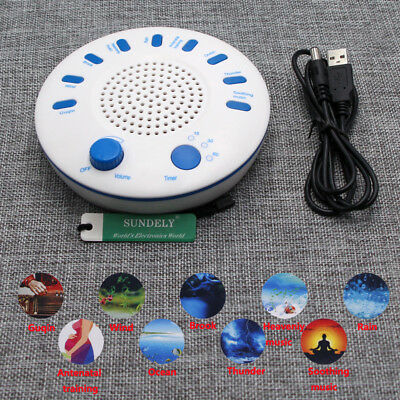 Hot White Relax Machine Deep Sleep Solution Noise Nature Peace Therapy WIth 9