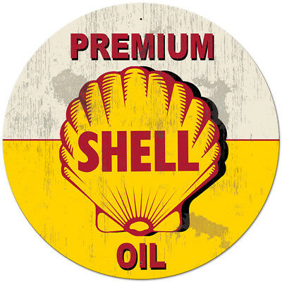 Vintage Style Steel Sign Yellow Premium Shell Oil Grunge 42 x 42