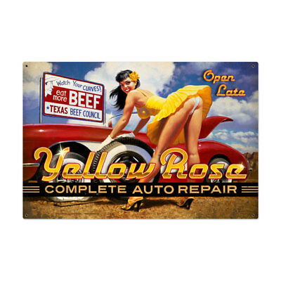 Vintage Style Steel Sign Yellow Rose 36 x 24
