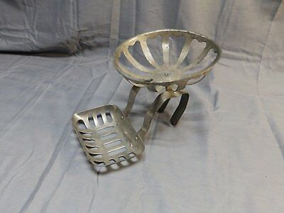 Antique Nickel Brass Claw Foot Bathtub Rim Soap Dish Sponge Holder Vtg 1710-16