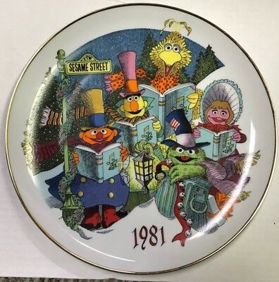 Sesame Street 1981 Limited Edition Christmas Collectors Plate 1st Edition Gorham