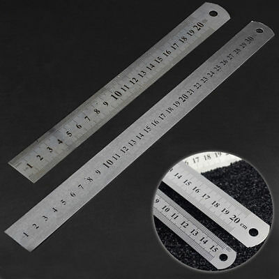 15/30cm Stainless Steel Pocket Pouch Metric Metal Ruler Measurement Double Sided