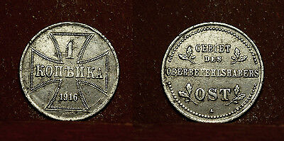 OBERBEFEHLSHABER OST: 1 Kopeke 1916 A , occupied east Europe, Emergency coinage