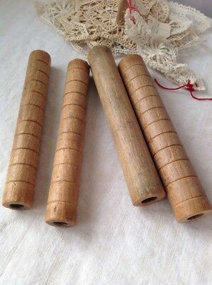 Vintage Wooden Bobbins 4pc French Reels Industrial Vintage Home Decor, Last Set!