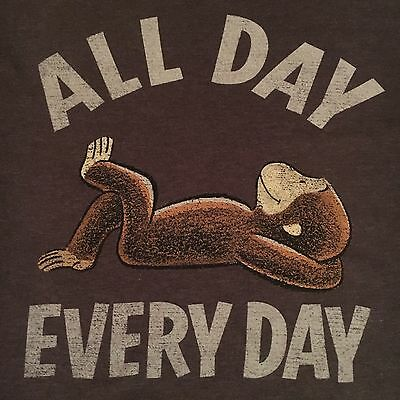 official CURIOUS GEORGE t shirt--ALL DAY lazy monkey EVERY DAY--NEW NWOT--(L)