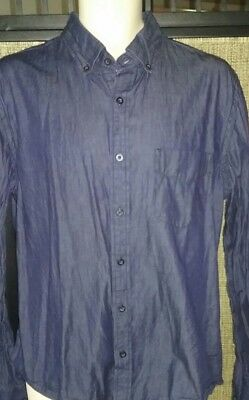 Vintage RED Dark Wash Denim Button Front Shirt Size LARGE SUPER NICE!