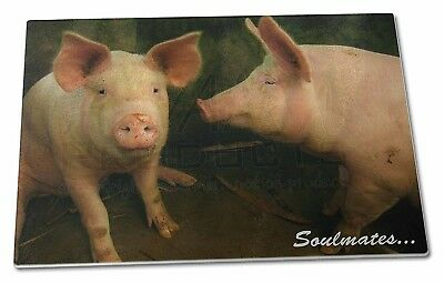 Pigs in Love Sty 'Soulmates' Extra Large Toughened Glass Cutting, Chopping Board