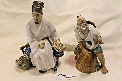 2 LARGE Asian Mud Man Figurines Fisherman with Fish Basket and 1 more ER