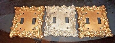 lot of 3 Vintage Ornate floral brass light switch double cover toggle brass