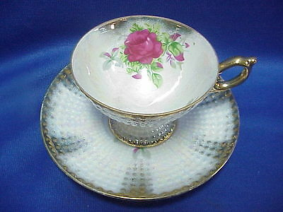 NORCREST FINE CHINA Cup and Saucer Rose Gold Trim Bubble Texture VINTAGE White