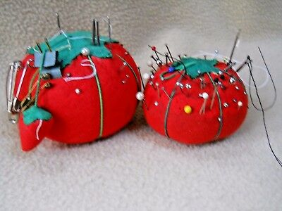 2 Vintage Tomato Pincushions / Sewing Collectible / Taiwan