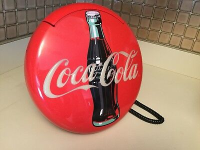 """Coca Cola Telephone Sign Wall Hanging Phone 1995 Works 12"""" Round"""