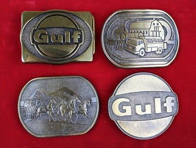 lot of 4 vintage Solid Brass GULF OIL advertising belt buckles