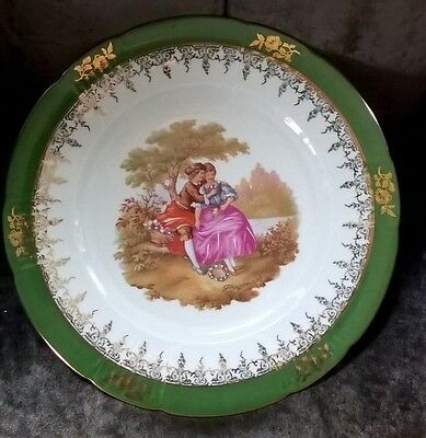 Limoges Porcelain Plate ( depicting lovers) Green and Gold border 25cm
