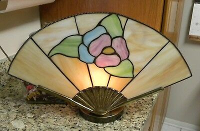 Vintage Art Deco Stained Glass & Brass FAN Shaped Floral TV Table Lamp