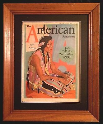 """Antique """"the American Magazine"""" Illustrated Cover 1930's Native American Framed"""