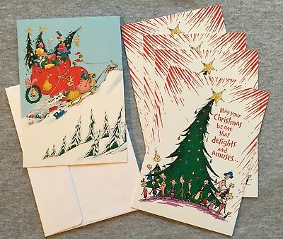Dr Seuss Image Arts 5 Christmas Cards/Envelops 2 Designs Grinch Tree Star Sleigh