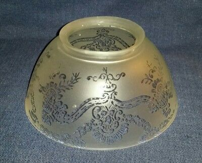 """Vintage Antique Etched Frosted Glass Gas Light Globe Floral Ribbon 7.75""""Diameter"""