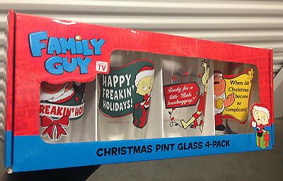 Family Guy XMAS Pint Glass Set 4 Pack Glasses Stewie Peter Quagmire NEW IN BOX!