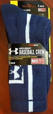 Under Armour Men's Medium M Baseball Crew Socks Heat Gear Navy White Qty Avail