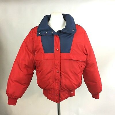 Womens Large Vintage Down Coat Ski Jacket Red Blue Colorado Classics By Gerry