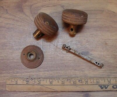 2 Antique Wooden Door Knobs,W/Stem & 1 Wood Escutcheon,Good Used Condition
