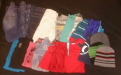 20 Piece Boys Youth  Huge Big Clothing Lot Size 10/12 Jeans Shirts  Shorts Hats