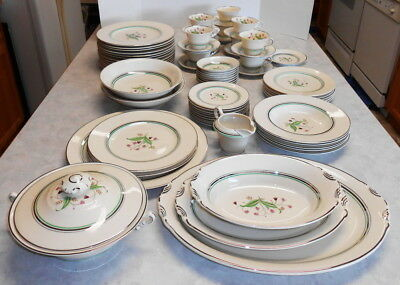 Vintage Syracuse Coralbel 71 Pieces Dish Set China Opco Old Ivory Made In Usa