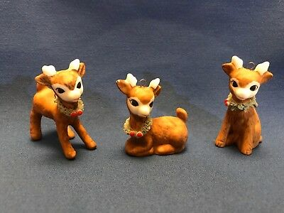 "Lot of 3 Vintage Christmas Porcelain Deer Reindeer Ornaments 2"" tall"