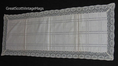 """Elegant  Linen Off White with Criss Cross & Lace Borders Table Runner 40""""X14"""""""