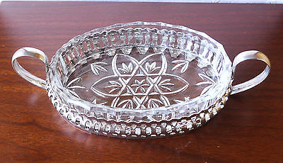 Pressed glass oval serving tray w metal 2-handle holder Great cond. Butter dish?