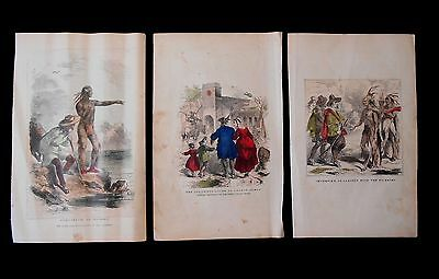 Squanto, Samoset and Pilgrims Hand Colored Prints about American Indians 1850's