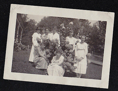 Antique Vintage Photograph Group of Women Sitting in Garden By Flowers