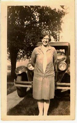 Old Antique Vintage Photograph Woman Standing in Front of Antique Car Automobile
