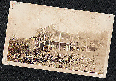 Old Vintage Antique Photograph People Outside In Front of Gorgeous Country Home