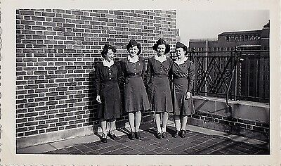 Old Vintage Antique Photograph Four Military Women Wearing Uniforms