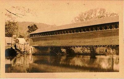 Old Antique Vintage Photograph Gorgeous Old Covered Bridge Country Setting