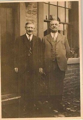 Old Antique Vintage Photograph Two Men Standing In Front of Building