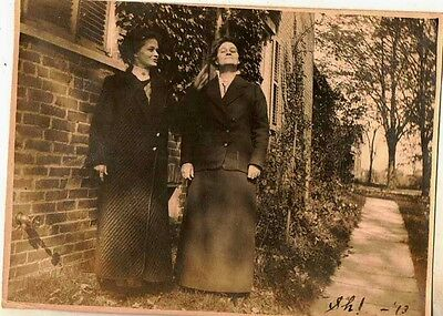 Antique Vintage Photograph Women in Black Posing In Front of House 1913