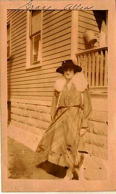 Old Antique Vintage Photograph Woman Wearing Hat & Gorgeous Outfit