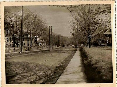 Old Vintage Antique Photograph Gorgeous Country Road Houses Trees