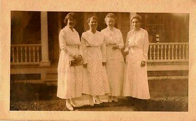 Old Antique Vintage Photograph Four Women Wearing Beautiful Long White Dresses