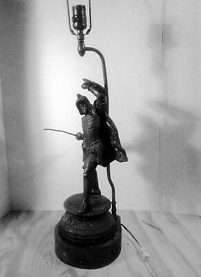 Antique Soldier/Warrior/Viking/Warrior/Knight Ornate Cast/Pot Metal Spelter Lamp