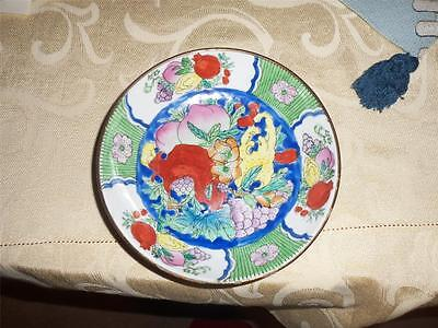 hand painted bowl w/ brass outter coating vintage rare item china