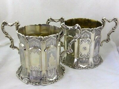 Antique Solid Silver  Pair of TALL BOTTLE COASTERS  Hallmarked  LONDON 1857