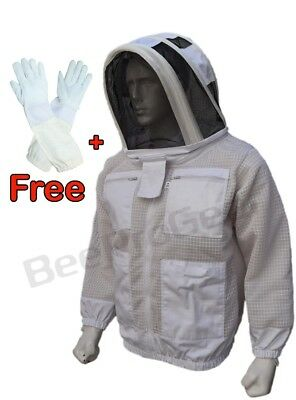 Beepro 3 Layer beekeeping jacket hat ventilated protective veil hat hood - L-02