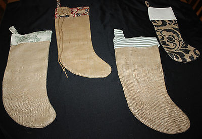Lot 4 Christmas Stockings Home Hand Made Burlap Fabric Lined Happy Holidays