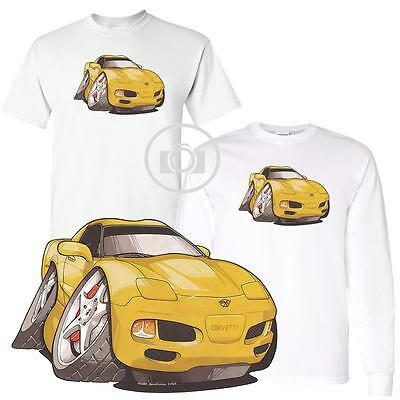 Chevrolet Chevy Corvette C5 Yellow Koolart Car Cartoon Art White T Shirt S-3X